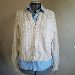 Peruvian Connection cardigan cable knit Pima
